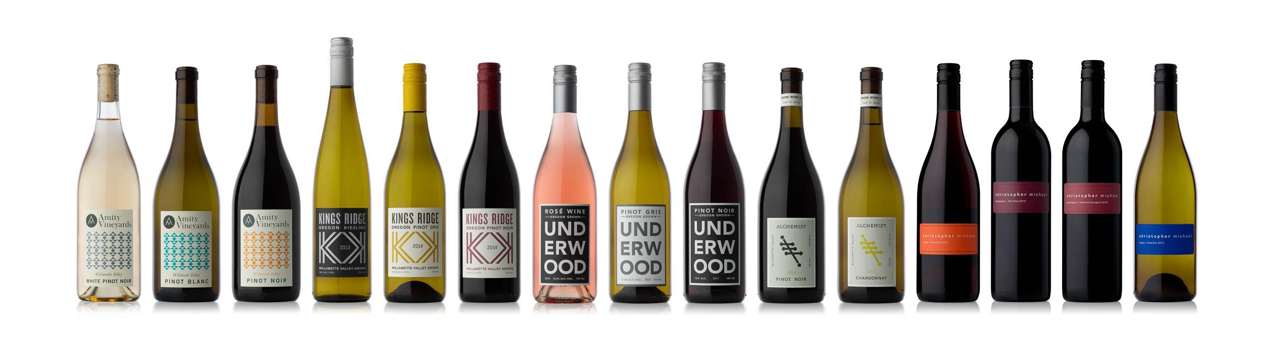 Amity, Kings Ridge, Underwood, Alchemist, and Christopher Michael wine bottles