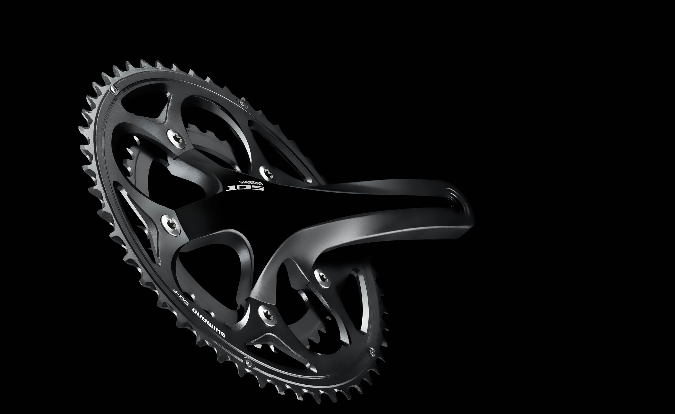 Shimano 105 crankset on black by Steve Temple Photography
